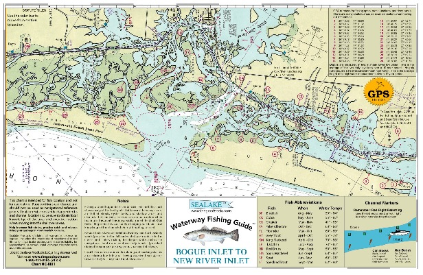 Sealake north carolina bogue inlet new river fish map for New river nc fishing
