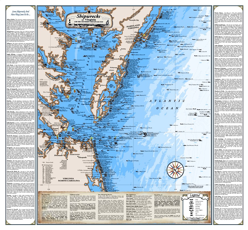 Virginia shipwreck chart great nautical art print map ebay for Chesapeake bay fishing map